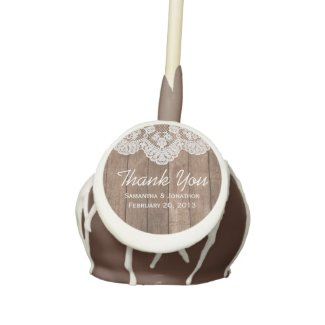 Rustic White Lace and Wood Wedding Thank You Cake Pops