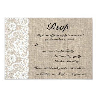 Rustic White Lace Burlap Look RSVP Card with Meals