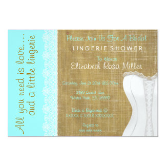 Rustic White Lace Corset Lingerie Bridal Shower Card