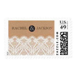 Rustic White Lace & Kraft Wedding Postage Stamp