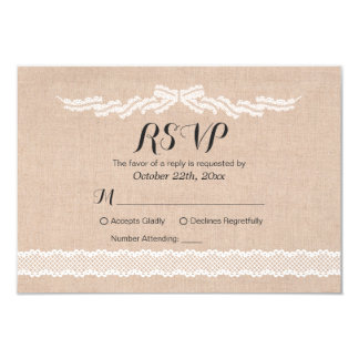 Rustic White Lace  Linen Wedding RSVP Reply Card