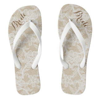Rustic White Lace on Brown Background, Bride Flip Flops