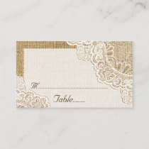 Rustic white lace on burlap wedding place card