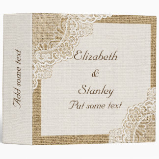 Rustic white lace on burlap wedding planner 3 ring binder