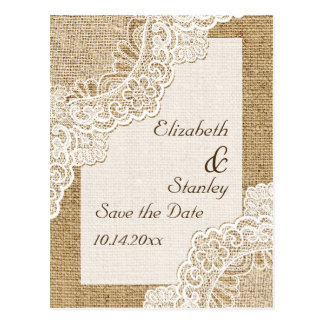 Rustic white lace on burlap wedding Save the Date Postcards