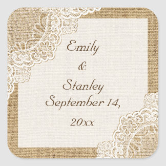 Rustic white lace on burlap wedding Save the Date Square Sticker