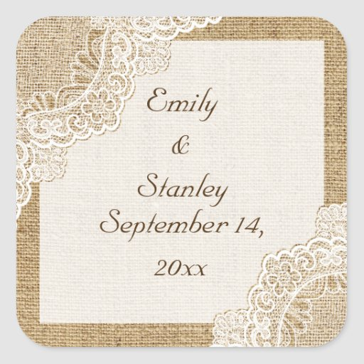 Rustic white lace on burlap wedding Save the Date Stickers
