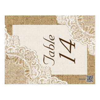Rustic white lace on burlap wedding table number postcards