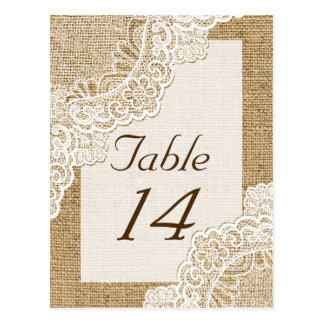Rustic white lace on burlap wedding table number postcard
