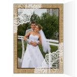 Rustic white lace on burlap wedding Thank You Greeting Card