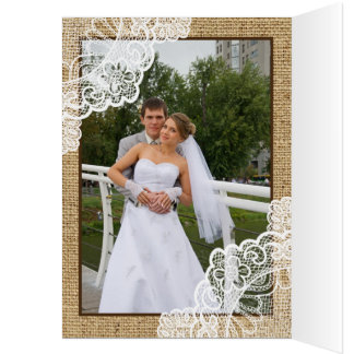 Rustic white lace on burlap wedding Thank You Stationery Note Card