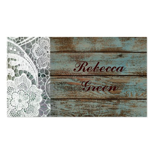 rustic white lace on teal barn board design business cards