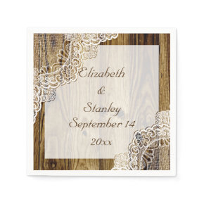 Rustic white lace on wood rustic wedding standard cocktail napkin