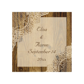 Rustic white lace on wood rustic wedding wood canvas