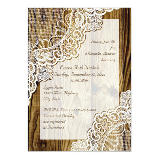 Rustic white lace on wood wedding couples shower card