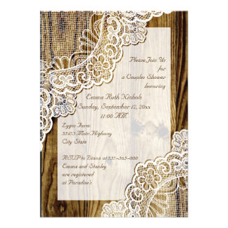 Rustic white lace on wood wedding couples shower personalized invitations