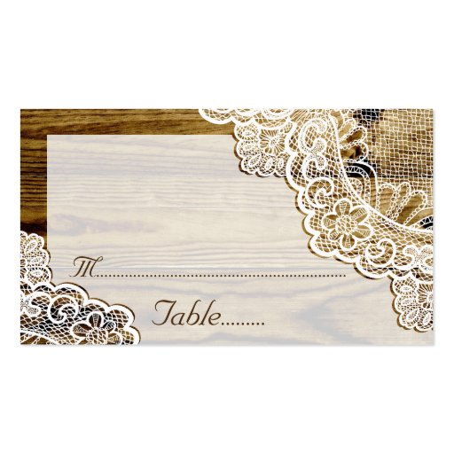 Rustic white lace on wood wedding place card business card