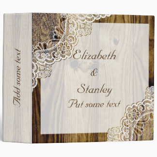 Rustic white lace on wood wedding planner binder