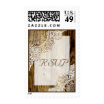 Rustic white lace on wood wedding RSVP Postage Stamp