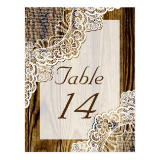Rustic white lace on wood wedding table number postcard