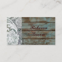 rustic white lace teal barn wood wedding business card