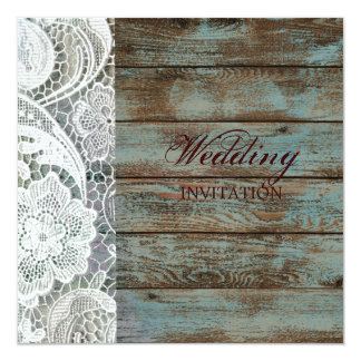 rustic white lace teal barn wood wedding card