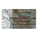 rustic white lace teal barn wood wedding Double-Sided standard business cards (Pack of 100)