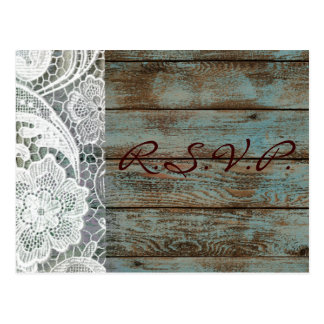 rustic white lace teal barn wood wedding rsvp post card