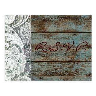 rustic white lace teal barn wood wedding rsvp postcard