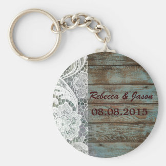 rustic white lace teal barn wood wedding thank you keychain