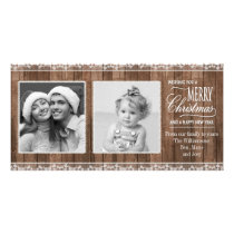 Rustic White Lace & Wood Christmas Card