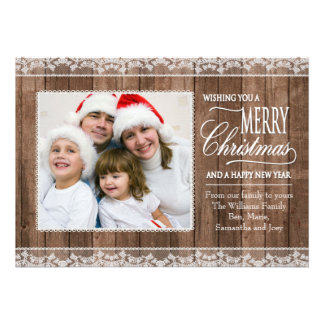 Rustic White Lace Wood Christmas Flat Photo Card