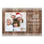 Rustic White Lace & Wood Christmas Flat Photo Card Custom Invitations
