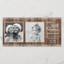 Rustic White Lace & Wood Christmas Holiday Card