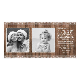 Rustic White Lace & Wood Christmas Photo Card