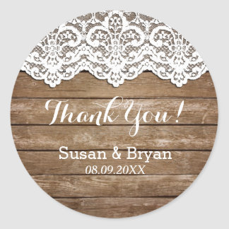Rustic White Lace & Wood Thank You Sticker