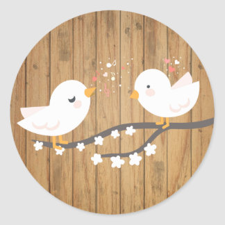 Rustic White Lovebirds Brown Wood Wedding Classic Round Sticker