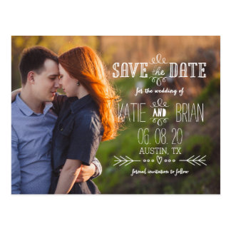Rustic White Photo Save the Date Postcard