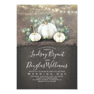 Rustic White Pumpkin and Baby's Breath Wedding Invitation