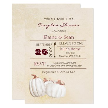 Rustic white pumpkins Fall Bridal Shower Card