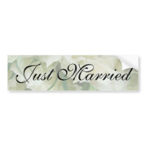 Rustic White Rose Just Married Sticker