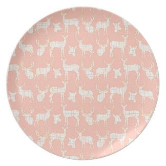 Rustic White Silhouette Deer Pink Melamine Plate