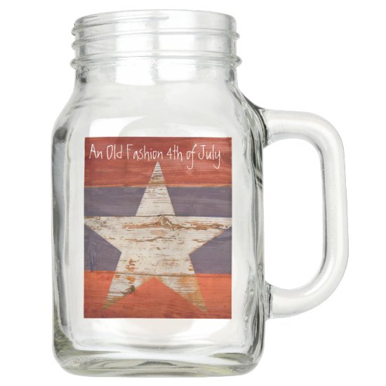 Rustic White Star on Wood, 4th of July, Country Mason Jar