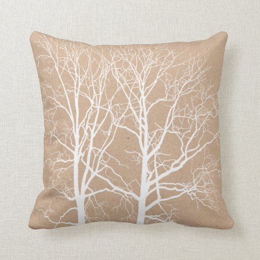 Decorative Pillows Rustic : Rustic White Trees Throw Pillow Zazzle