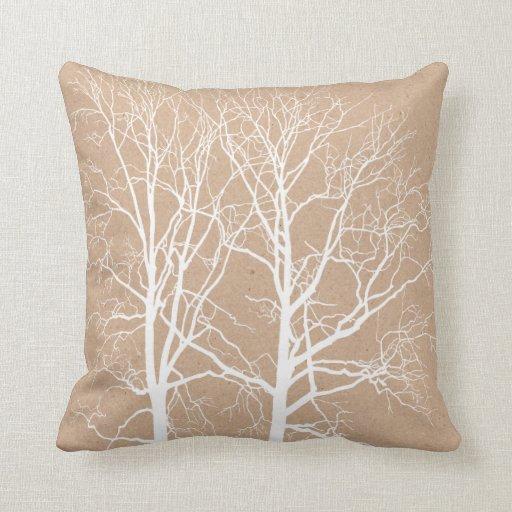 Rustic White Trees Throw Pillow Zazzle