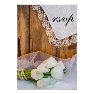Rustic White Tulips Barn Wedding RSVP Response Card