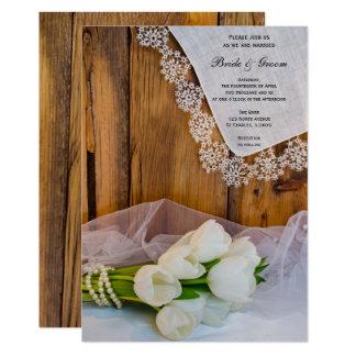 Rustic White Tulips Country Barn Wedding Invite