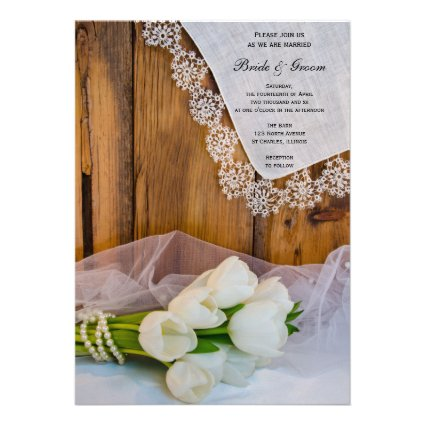 Rustic White Tulips Country Wedding Invitation