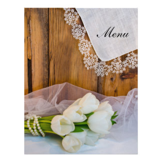 Rustic White Tulips Country Wedding Menu Flyers