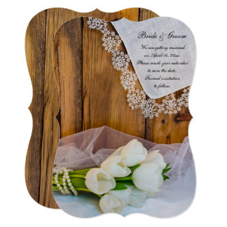 Rustic White Tulips Country Wedding Save the Date Card
